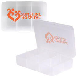 Clear Rectangular 6 Compartment Pill Box