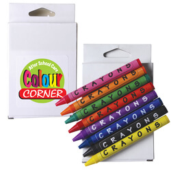 Assorted Colour Crayons in White Cardboard Box
