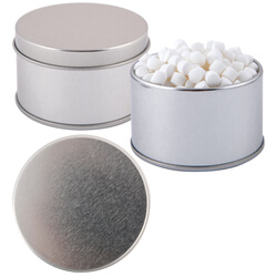 Peppermints in Silver Round Tin
