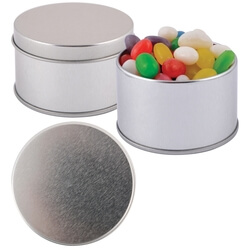 Assorted Colour Mini Jelly Beans in Silver Round Tin