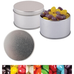 Corporate Colour Mini Jelly Beans in Silver Round Tin