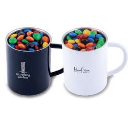 M&M's in Stainless Steel Coloured Double Wall Barrel Mug