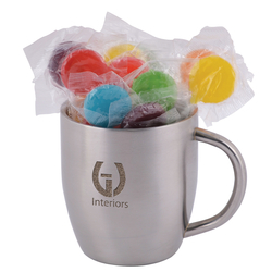 Assorted Colour Lollipops in Stainless Steel Double Wall Curved Mug