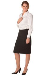 Women's Poly/Viscose Stretch Stripe Mid Length Lined Pencil Skirt