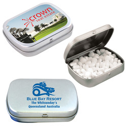 Custom Sugar-Free Breath Mints in Silver Tin